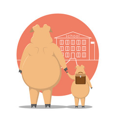 the pig leads the piglet to the school vector image