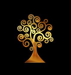 tree life tree natural logo and gold tree vector image