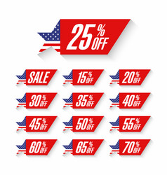 usa independence day sale discount labels vector image