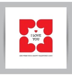 Valentines day greeting card with four hearts vector image
