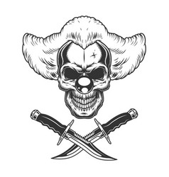 vintage scary clown skull vector image