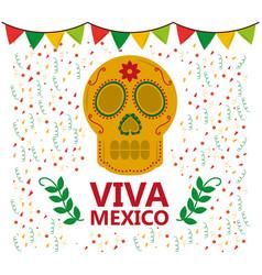 Viva mexico skull pennant confetti laurel vector