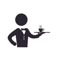 Waiter catering coffee cup vector