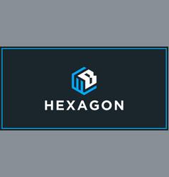Wb hexagon logo design inspiration vector