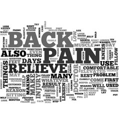 What can i do to relieve back pain text word vector