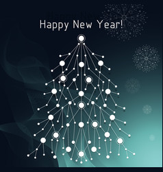 white fir tree made of connected lines and dots vector image