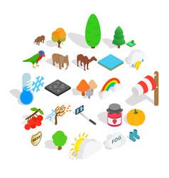 Wildlife sanctuary icons set isometric style vector