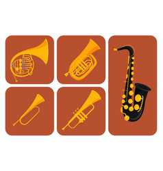 Wind musical instruments cards tools acoustic vector