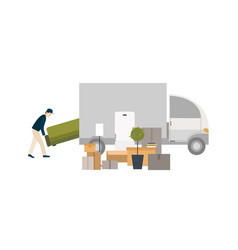 Worker loading things for transportation moving vector