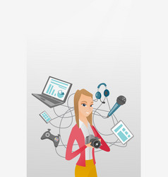 Young caucasian woman surrounded by her gadgets vector
