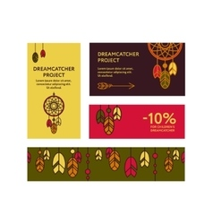 Business cards with dreamcatchers vector image vector image