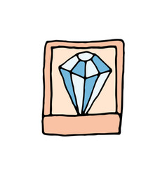 diamond in a casket cartoon icon vector image vector image