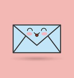 envelope character kawaii style vector image vector image