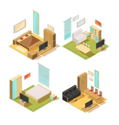 flat rooms isometric interiors vector image