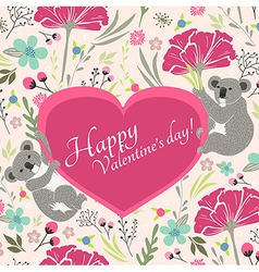 Floral valentines day card with cute koala bears vector image vector image