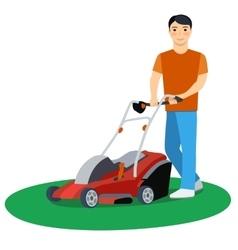 Man cutting grass vector image