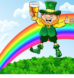 Saint Patrick Day leprechaun with a glass of beer vector image