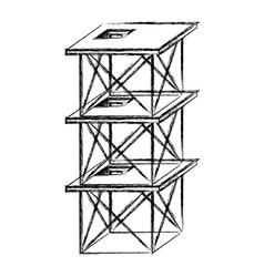 scaffold three floors monochrome blurred vector image