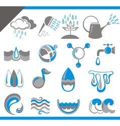 Set of water icons for design vector image