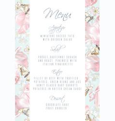 tulip butterfly menu vector image