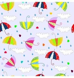 seamless background with drops raining umbrellas vector image