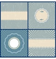 Set of retro blue wavy back vector image vector image