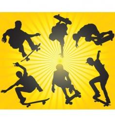 skateboarding silhouettes vector image