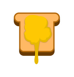 toast with honey icon flat style vector image vector image