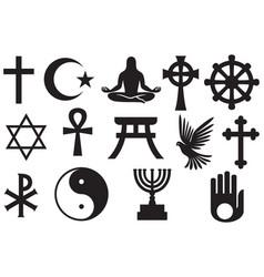 world religions symbols set vector image vector image