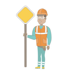 young hispanic road worker showing road sign vector image vector image