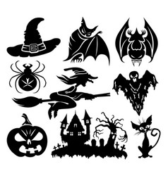 a set of halloween elements vector image vector image