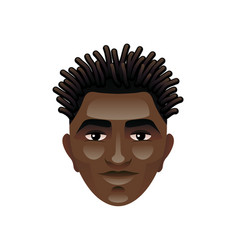 african man face isolated on white vector image vector image