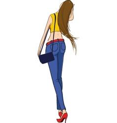 Beautiful slim girl walking vector image vector image