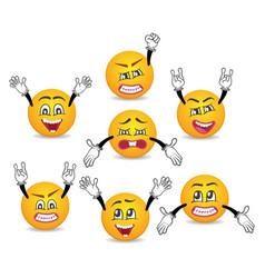 cartoon cute emoticons with hands gesture set vector image vector image
