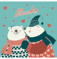 Couple of kissing bears vector image vector image