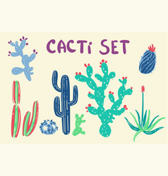 hand drawn cactus and succulent plants vector image vector image