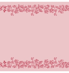 seamless border floral pink vector image