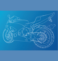 sport motorcycle technical wire-frame eps10 vector image
