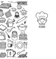Kitchen utensils and appliance vertical banner vector image vector image