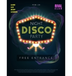 Night disco dance party poster with glowing frame vector image vector image