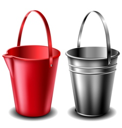 Plastic and metal bucket set vector image