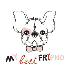 pretty little puppy- hand drawn doodle vector image