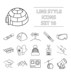 ski resort set icons in outline style big vector image