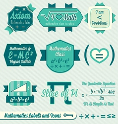 Vintage mathematics class labels and icons vector