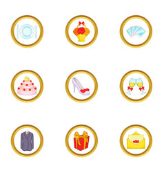 wedding party icons set cartoon style vector image vector image