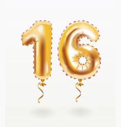 16 happy birthday celebration with gold balloons vector image