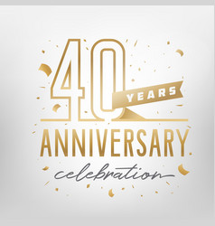 40th anniversary celebration golden template vector image