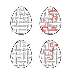 A set of labyrinths in the form of eggs black vector