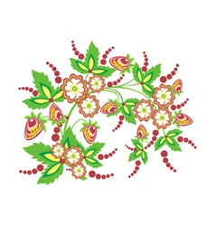 Abstract branch with flowers and strawberries vector image