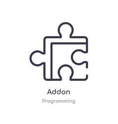 Addon outline icon isolated line from programming vector